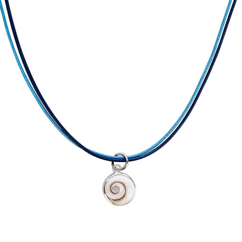 collier fantaisie bleu avec oeil de sainte lucie