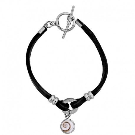 Bracelet en cuir noir et oeil de sainte Lucie