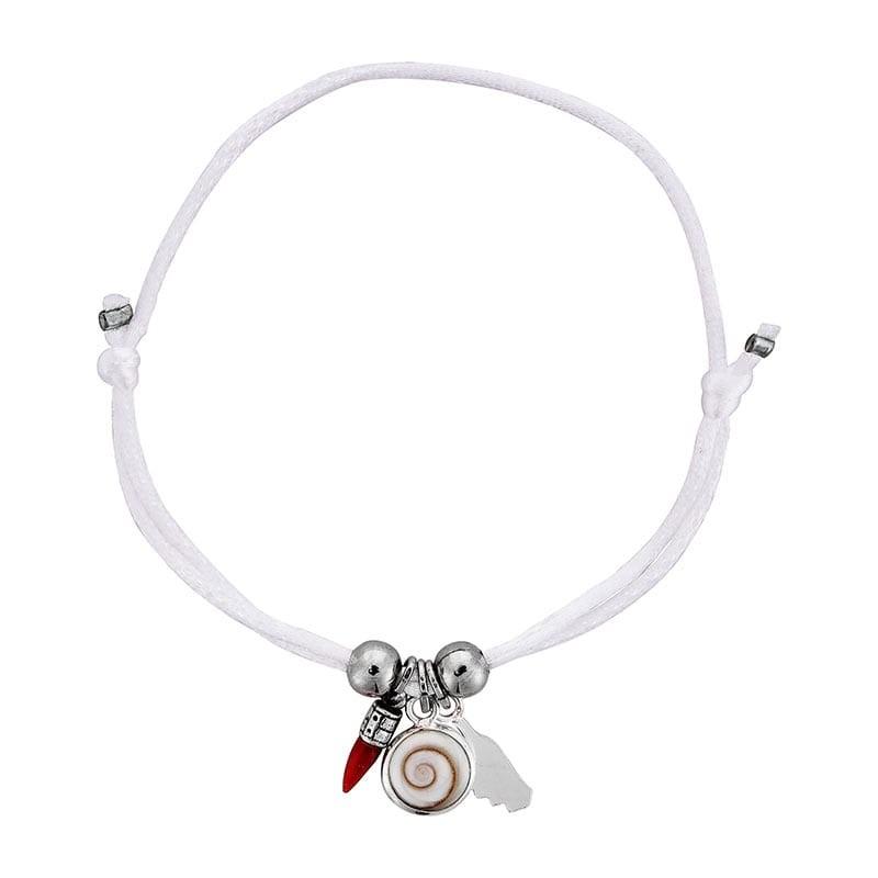 Bracelet blanc oeil de sainte lucie et corail