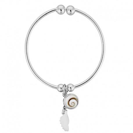 Bracelet rigide en argent avec oeil de sainte lucie