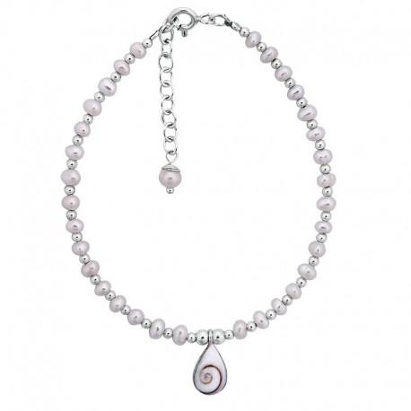 Bracelet argent perles blanches