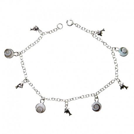 Bracelet argent avec dauphins