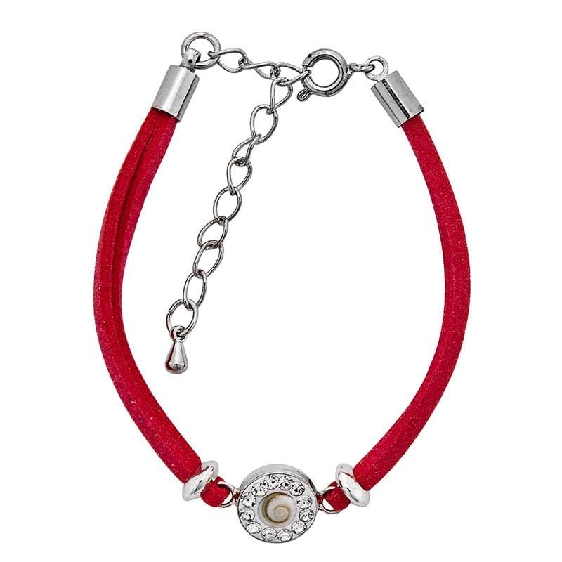 Bracelet rouge corail oeil de sainte lucie et strass