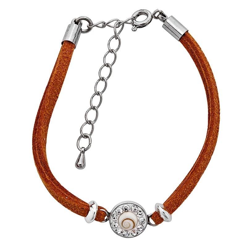 Bracelet ocre oeil de sainte lucie et strass