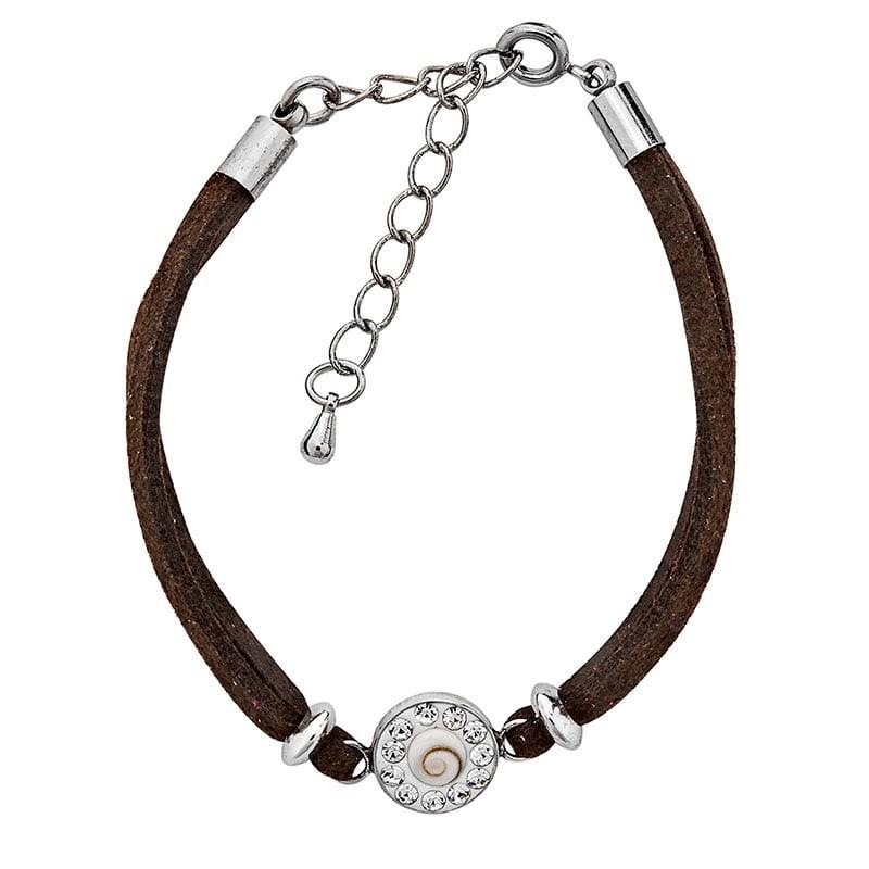 Bracelet choco oeil de sainte lucie et strass