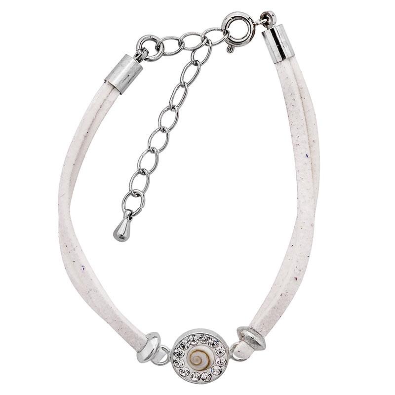 Bracelet blanc oeil de sainte lucie et strass