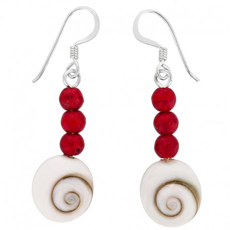 Boucles d'oreilles oeil de sainte Lucie et perles rouge