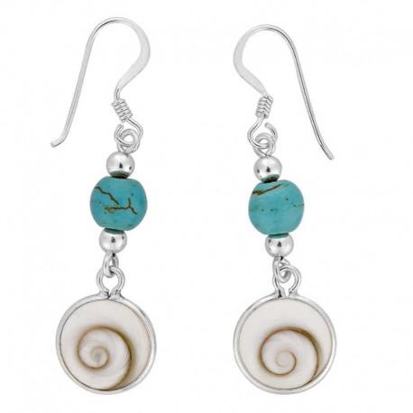 Boucles d'oreilles avec perle turquoise