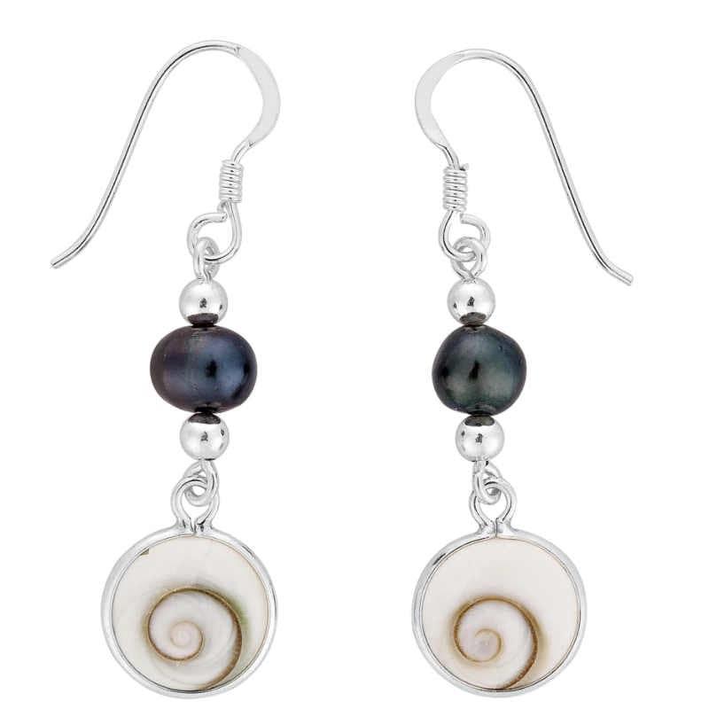 Boucles d'oreilles avec perle noire