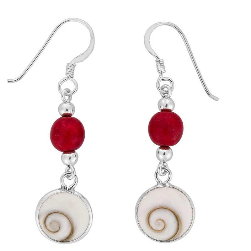 Boucles d'oreilles avec perle rouge