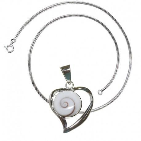 Chaine snake et pendentif coeur