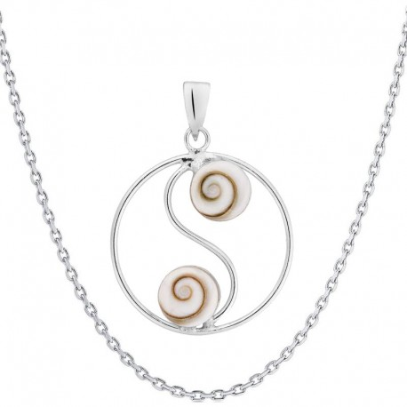 Chaine snake et pendentif rond