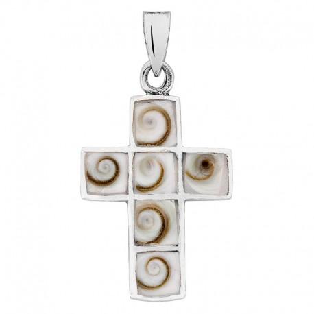 pendentif argent croix et oeil de ste lucie