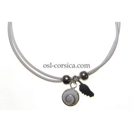 Bracelet Corse et oeil de sainte lucie blanc