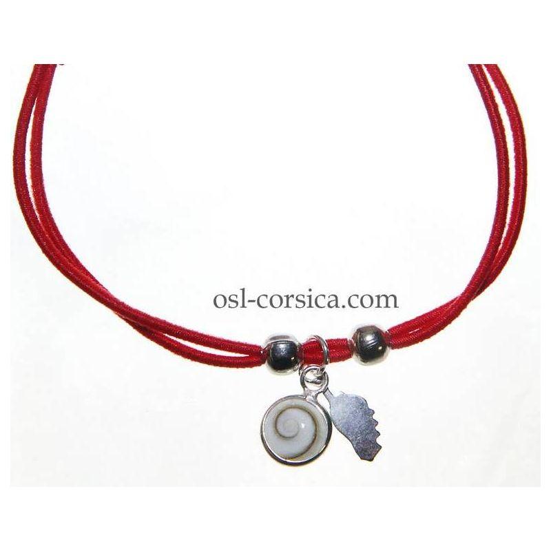 Bracelet Corse et oeil de sainte lucie rouge