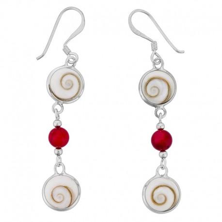 Boucles d'oreilles Argent avec oeil de sainte Lucie et gorgone rouge