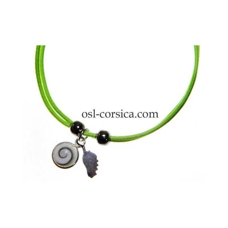 Bracelet Corse et oeil de sainte lucie vert