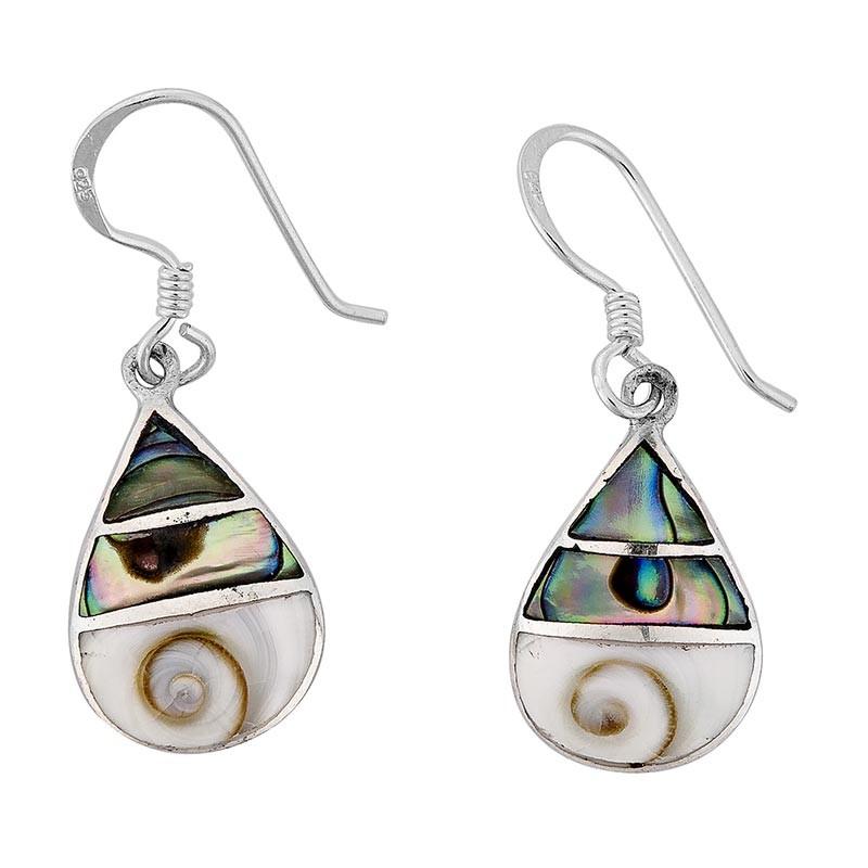 Boucles d'oreilles avec oeil de sainte Lucie et abalone