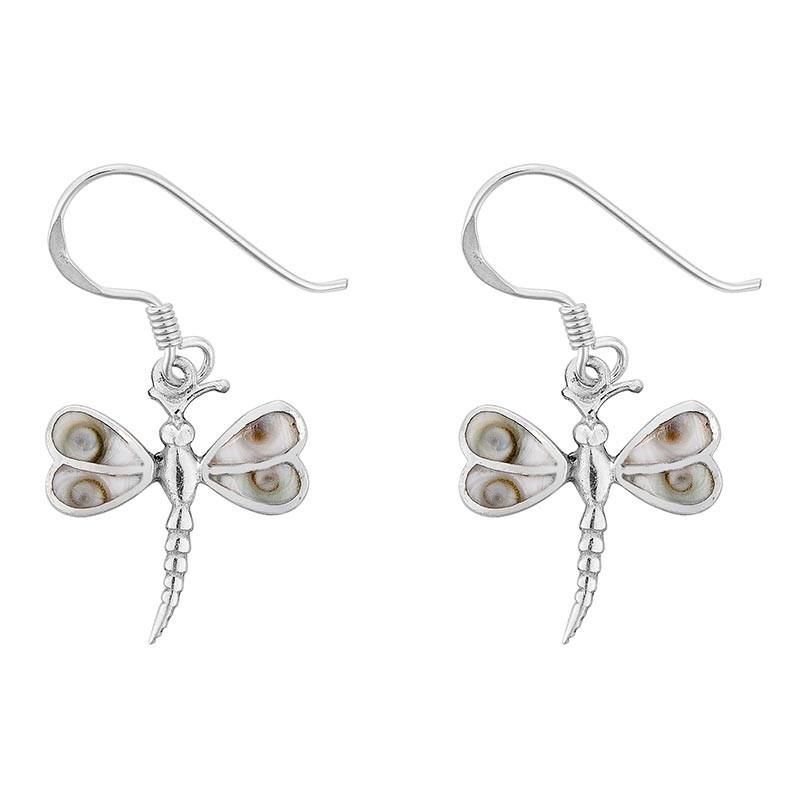 boucles d'oreilles libellule argent et oeil de sainte lucie