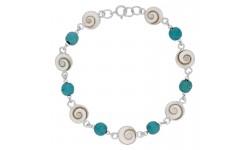 Bracelet argent oeil de sainte lucie et turquoise