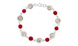 Bracelet argent gorgone rouge et oeil de sainte lucie