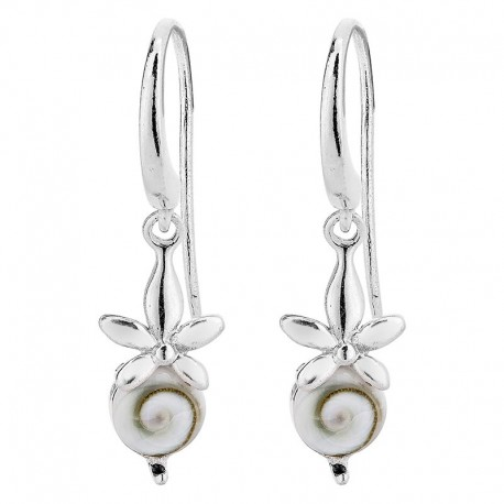 Boucles d'oreilles argent orchidée et oeil de sainte Lucie