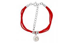 Bracelet cordon satin rouge et oeil de sainte lucie