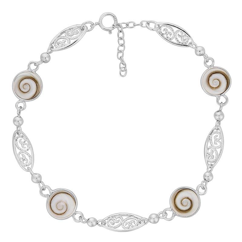 Bracelet en argent avec plaques filigrane et oeil de sainte lucie