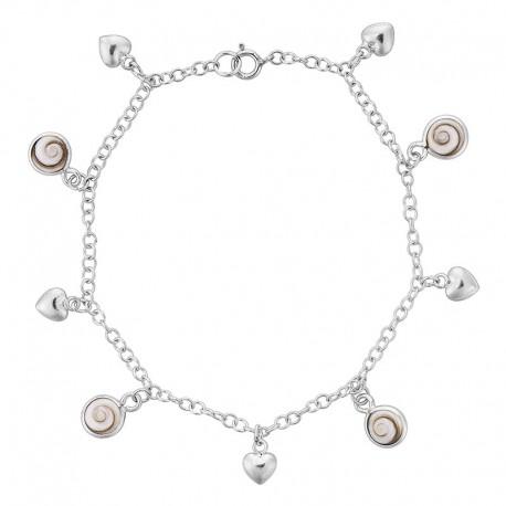 Bracelet argent oeil de sainte Lucie et coeurs