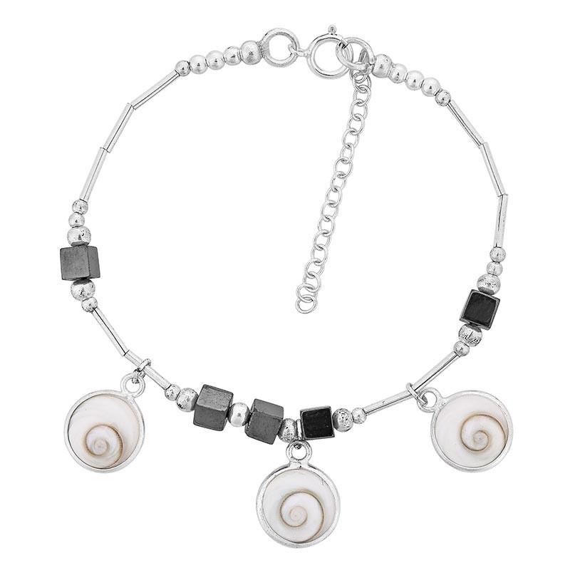 Bracelet en argent avec pierres noires et oeil de sainte lucie