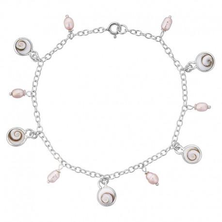 Bracelet argent oeil de sainte Lucie et perles roses