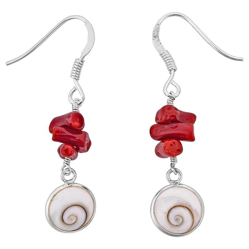 Boucles d'oreilles avec oeil de sainte Lucie et corail rouge