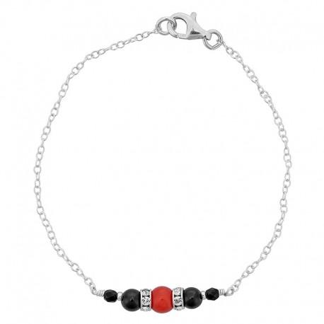 Bracelet en argent avec pierres noires et corail rouge