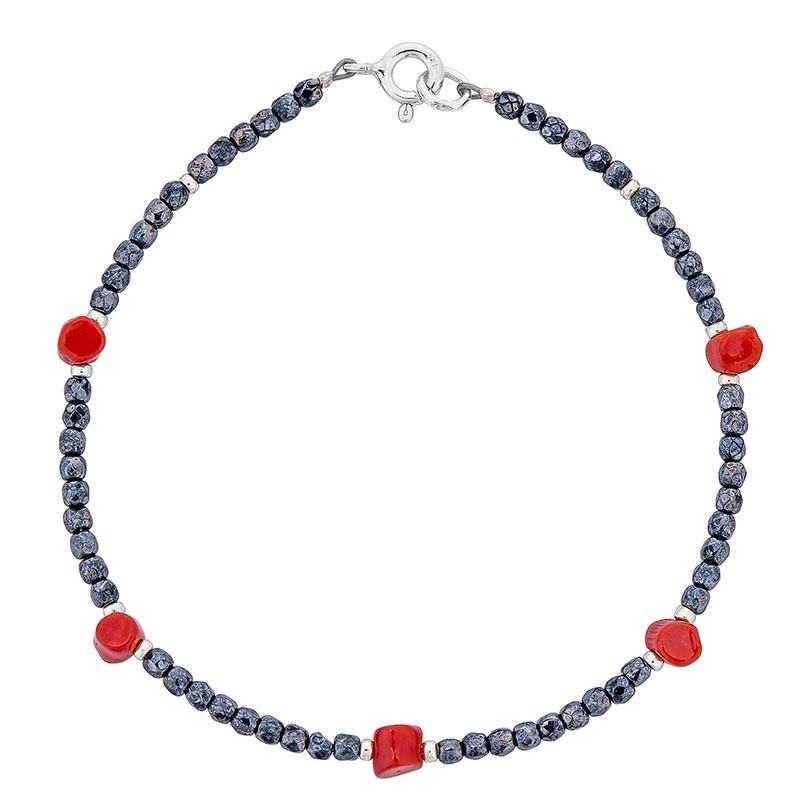 Bracelet avec pierres noires et corail rouge