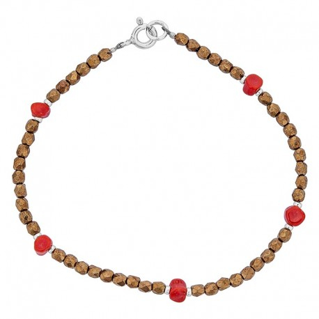 Bracelet avec pierres bronze et corail rouge