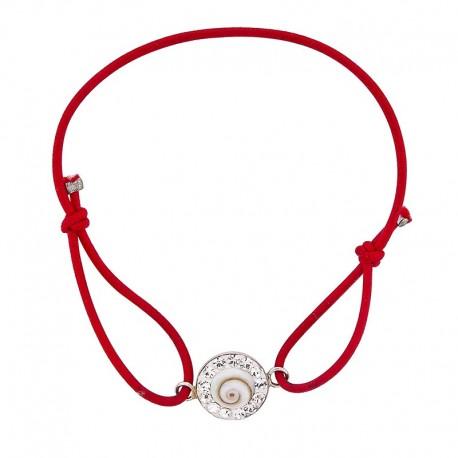 Bracelet rouge Oeil de sainte Lucie et Strass