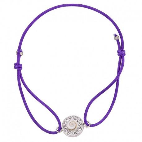 Bracelet violet Oeil de sainte Lucie et Strass