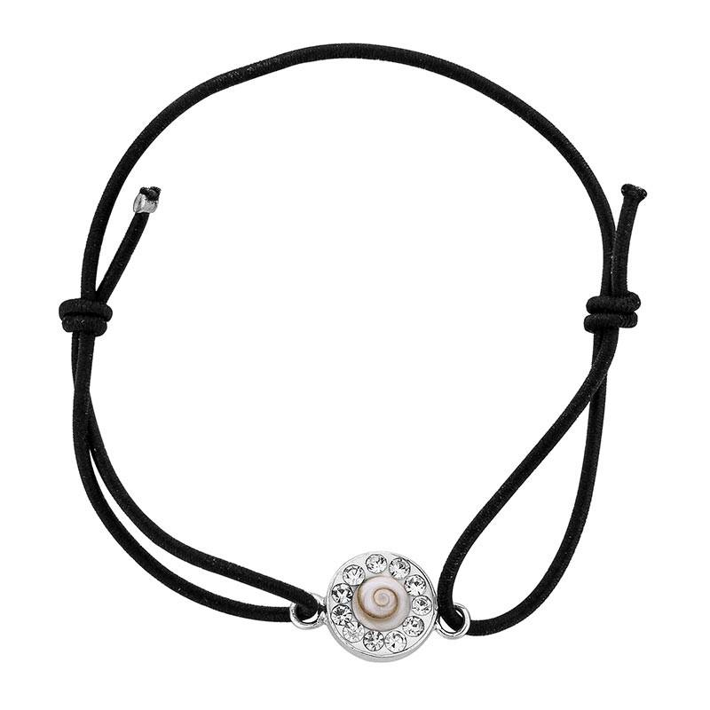 Bracelet noir Oeil de sainte Lucie et Strass