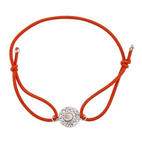Bracelet orange Oeil de sainte lucie et Strass
