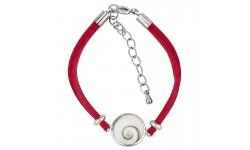 Bracelet fantaisie alcantara rouge et oeil de ste lucie