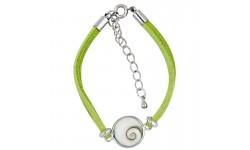 Bracelet oeil de sainte lucie alcantara vert et oeil de sainte lucie