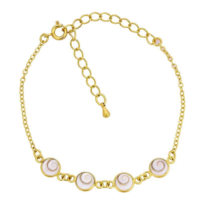 Bracelet chaine plaqué or et oeil de ste lucie