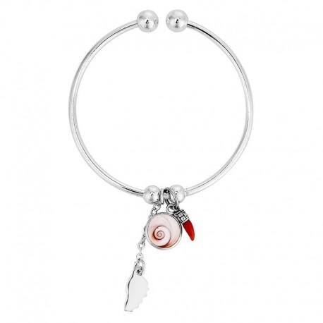 Bracelet jonc en argent avec oeil de sainte lucie et corail