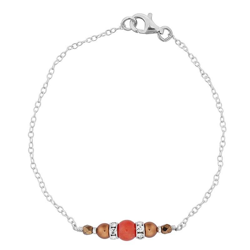 Bracelet en argent avec pierres bronze et corail rouge
