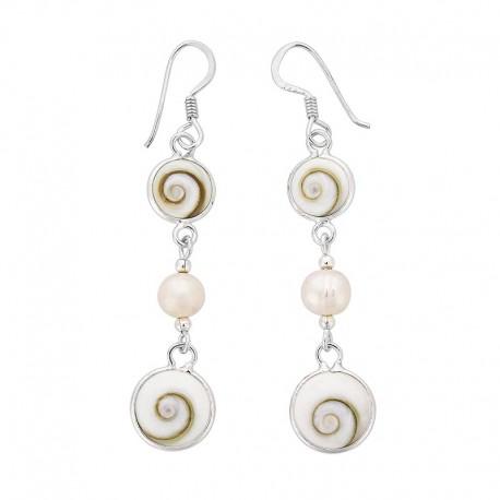 Boucles d'oreilles en argent avec deux yeux de sainte lucie et perle
