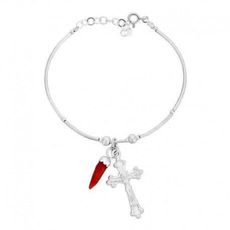 Bracelet rigide en argent avec oeil de sainte lucie mediterraneen