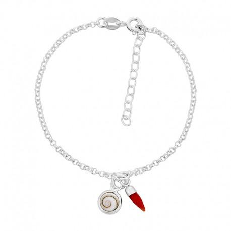 Bracelet chaine argent et corail