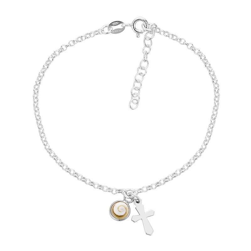 Bracelet chaine argent oeil de sainte lucie et croix