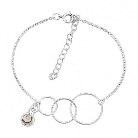 Bracelet chaine argent oeil de sainte lucie et anneaux