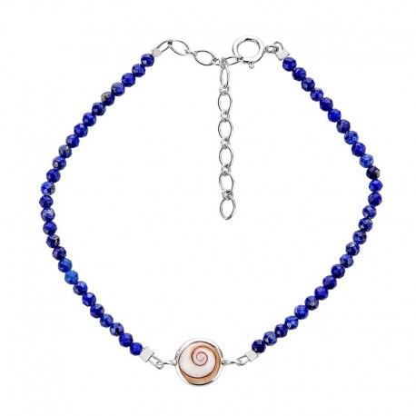 Bracelet souple Lapis et oeil de sainte lucie